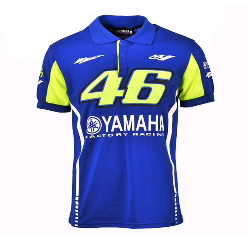 100% Cotton Moto GP VR46 Racing for Yamaha Polo Shirt Valentino Rossi 46 The Doctor Blue T-shirt
