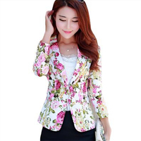 2017 New Fashion Women Jackets Spring Autumn Style Female Floral Print Slim Coat OL Short Suit Outerwear Chaquetas Mujer AB040