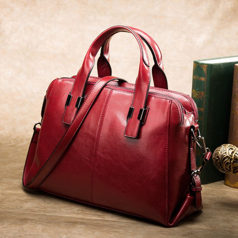 Brand Real Leather Handbags Ladies Genuine Leather Tote Hand Bags Female Designer Shopper Shoulder Bags For