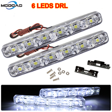 6 LEDs Universal 12V Car Daytime Running Lights Car-styling DRL Car Daytime Lamp Auto Fog Light Super Bright Waterproof new dimming style relay waterproof 12v led car light drl daytime running lights with fog lamp hole for mitsubishi asx 2013 2014