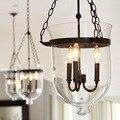 Винтажные подвесные лампы Ретро американский кантри чердак железный подвесной светильник стеклянное ведро штрих-код склад E14 приспособлен...