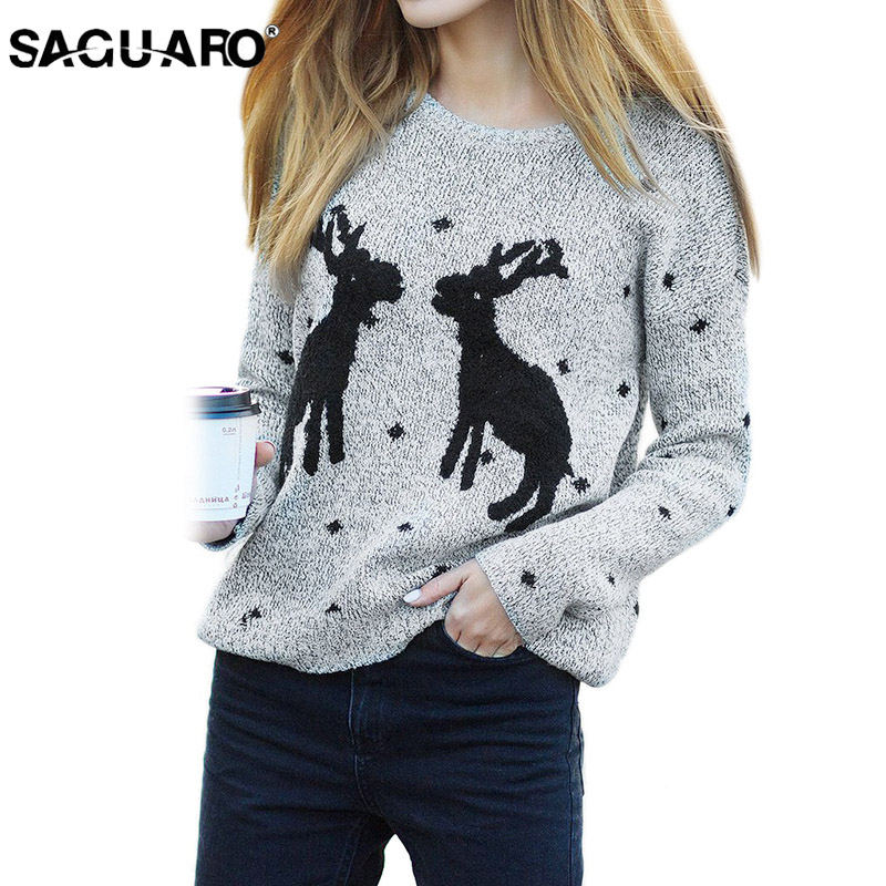 SAGUARO 2018 Winter Christmas Sweater Fashion Women Knitted Reindeer Pullover Long Sleeve Casual Ladys Sweaters Kerst Trui