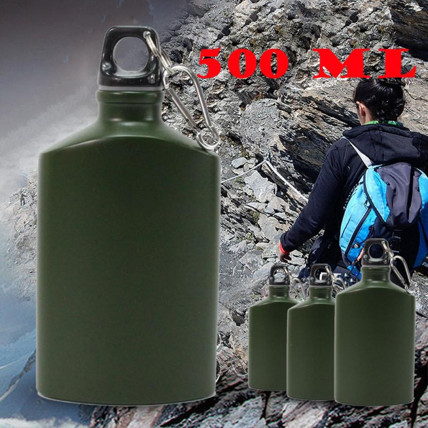 High quality 500ML Water Bottle Flat Travel Drink Bottle+Carabiner For Camping Cycling Sport Portable Durable stainless steel