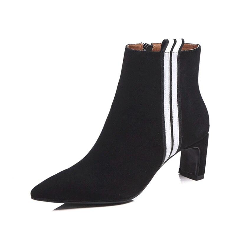 Zipper Égérie 2018 Sexy Haute Mélangées Taille Nouvel khaki Mode Couleurs Bout Pointu Enfant Bottines Grande Style Femmes En Étrange Daim Black Chaussures 7EqUr7