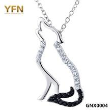 100% Real Pure 925 collar de plata negro blanco Cubic Zirconia lobo collares y colgantes hombres y mujeres joyería GNX0004