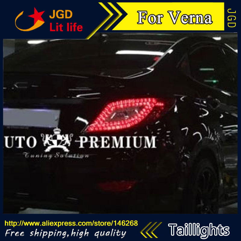 Car Styling tail lights for Hyundai Verna LED Tail Lamp rear trunk lamp cover drl+signal+brake+reverse car styling tail lights for chevrolet captiva 2009 2016 taillights led tail lamp rear trunk lamp cover drl signal brake reverse