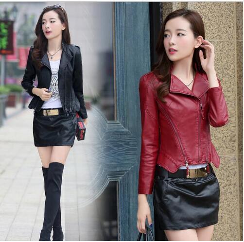 2019 printemps automne mode femmes en cuir PU veste courte conception mince en peau de mouton moto veste