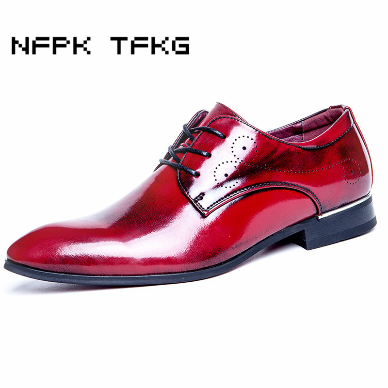 large size men casual breathable wedding party work formal dress cow leather shoes pointed toe oxfords shoe sapatos masculino patent leather men s business pointed toe shoes men oxfords lace up men wedding shoes dress shoe plus size 47 48