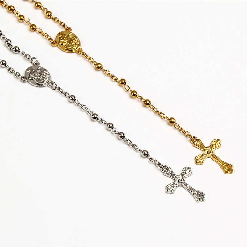 ลูกประคำสแตนเลส 4 มม gold และ silver rosary สร้อยคออธิษฐานสำหรับยาว rose chain, blessing สร้อยคอ