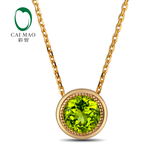 14K Yellow Gold Natural 1.88ct 7.5mm Round Peridot Pendant Free shipping For Ladies Anniverary