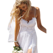 Bbonlinedress Beach Wedding dress 2019 Spaghetti Straps gowns Sexy Backless Bridal Gown New White Ivory dresses