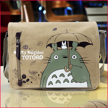 Hot Sales Unisex Totoro Canvas Messenger Bags Cosplay School Bag Fashion Cartoon Book Bags Free Shipping