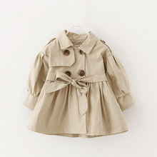 Fashion Girls Trench Autumn Long Sleeve Double Breasted Children Outerwear with Belt Solid Fashion Kids Trench Coats 3 Colors