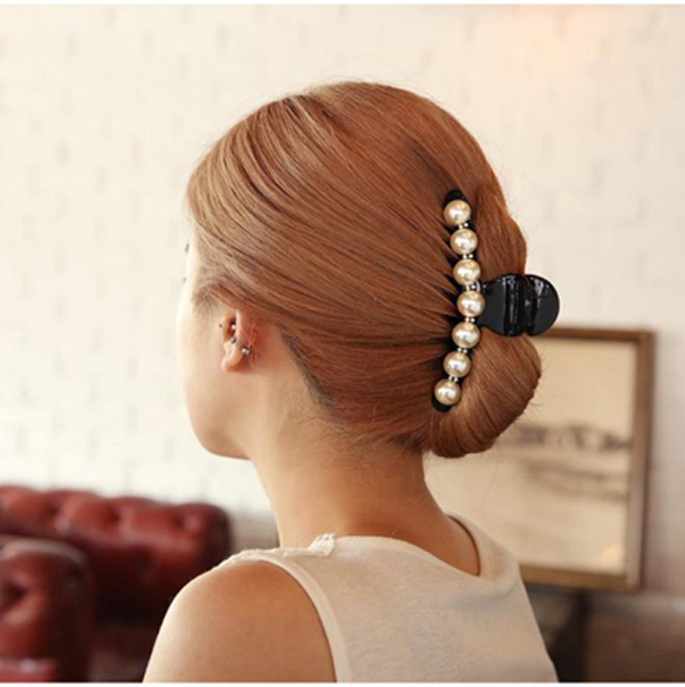elegant imitation pearl ponytail