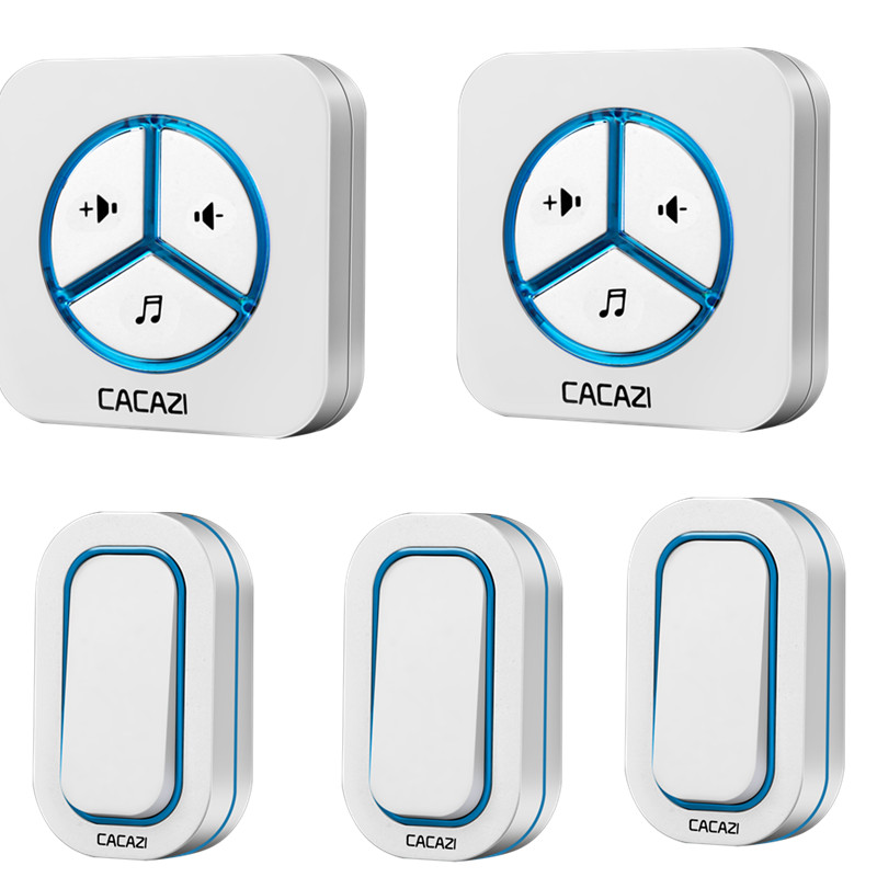 CACAZI doorbell 280M remote AC 110-220V US/EU/UK Plug Wireless Door bell 48 rings door chime 3 waterproof buttons+2 receivers wireless cordless digital doorbell remote door bell chime waterproof eu us uk au plug 110 220v