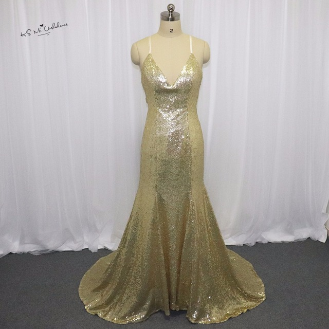 Indian Evening Dresses Long Gold Sequin Prom Dresses Cheap Mermaid ...