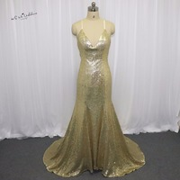 Indian Evening Dresses Long Gold Sequin Prom Dresses Cheap Mermaid Backless Party Gowns Imported China Robe de Soiree Courte