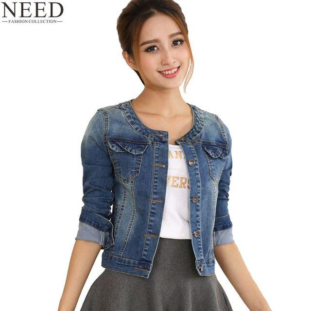 Осень 2017 г. джинсовая куртка для женщин; Большие размеры с длинными рукавами и круглым вырезом Короткие джинсы куртка женская джинсовая куртка