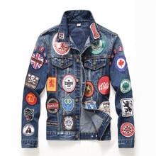 Hip hopowe męskie kurtki i płaszcze Vintage odznaki naszywki malowane na niebiesko Denim Jacket Trendy wąski Patchwork płaszcze z długim rękawem DS50550