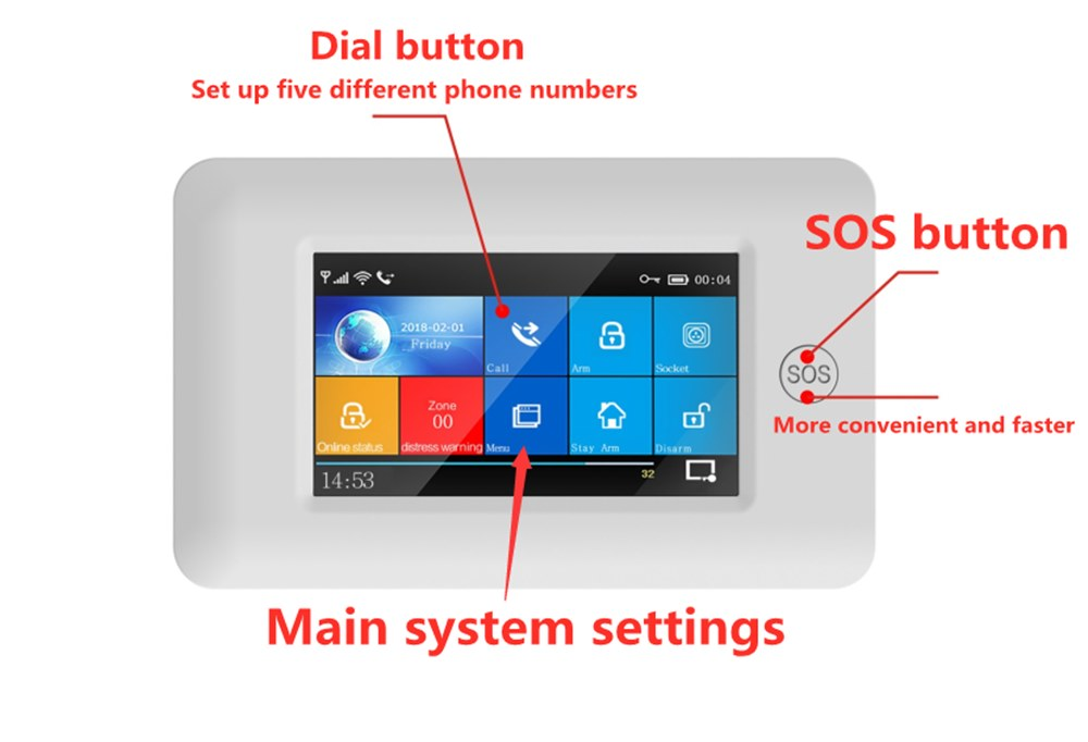 Wifi APP Control Smart Home Security with Touch Color Screen and PIR Motion Sensor 10