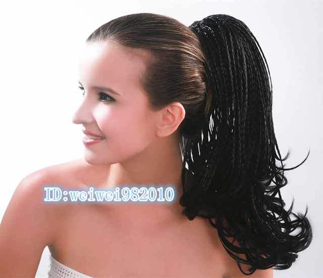 Hand Woven Black Long Braided Ponytail Extension African American