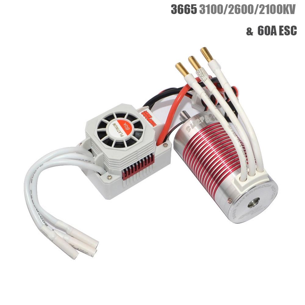 Platinum Waterproof 3665 3100KV 2600KV 2100KV Brushless Motor With 60A ESC  For RC Car 1/10 Motor RC Rock Crawler