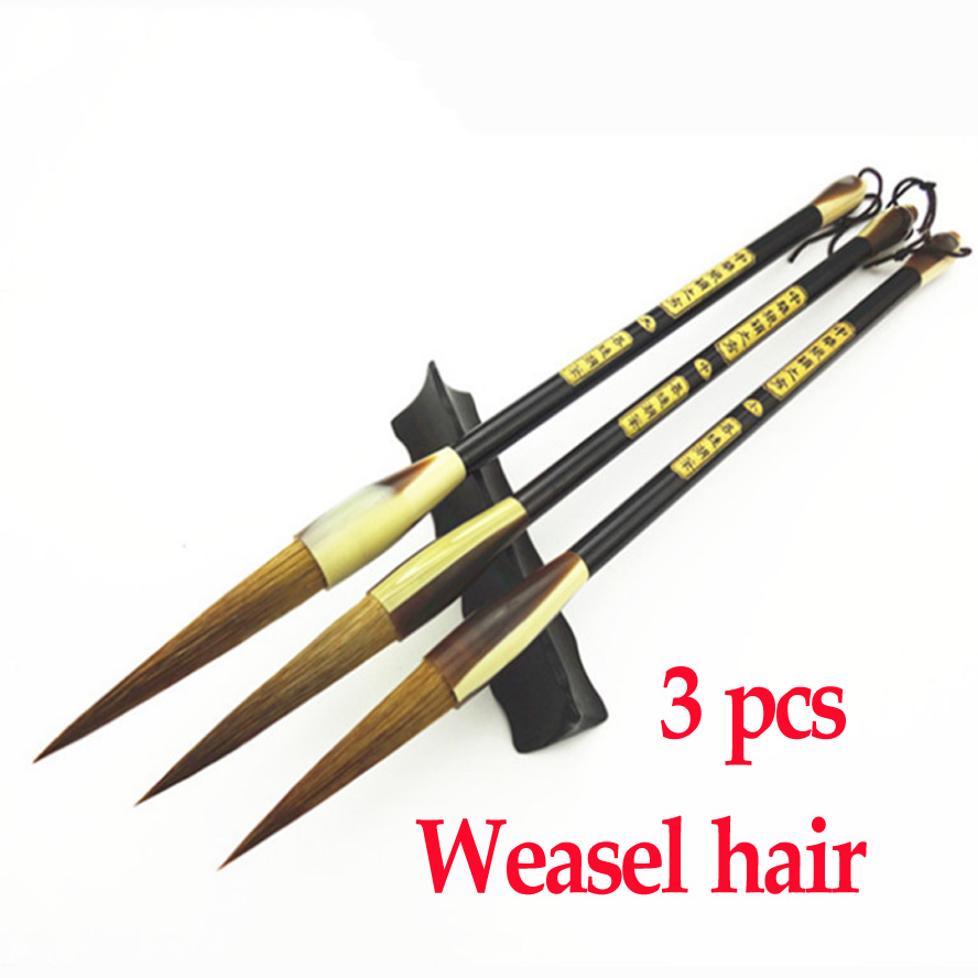 3pcs Chinese Calligraphy Brushes Weasel hair brush pen for painting drawing calligraphy Art supplies kiwarm useful durable bear hair chinese calligraphy japanese kanji drawing brush bamboo shaft calligraphy brush for art painting