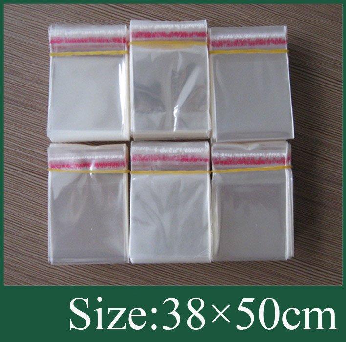 100x прозрачный самоклеющийся уплотнение Пластик сумка 38x50 см
