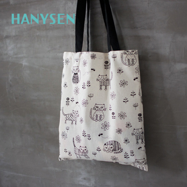 HANYSEN 2017 Hot Sale Summer Cartoon Cat Pattern Printing Open Soft  Handbags Cute Animal Prints Fresh