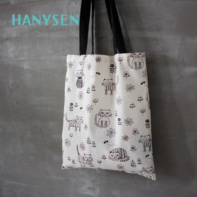HANYSEN 2017 Hot Sale Summer Cartoon Cat Pattern Printing Open Soft  Handbags Cute Animal Prints Fresh