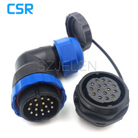 SD28TA ZM 90 Degree Elbow Connector 16pins Plug And Socket Outdoor Waterproof Cable 16 Pin Connector