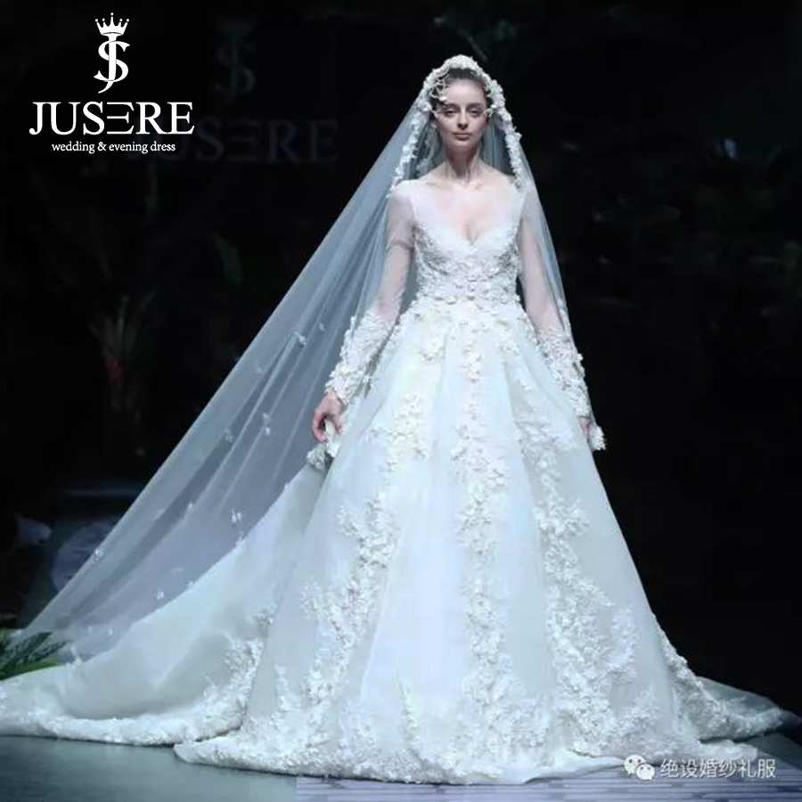 W50279(6) luxury beading flowers whole dress cathedral long train v neckline illusion long sleeves big a line bridal wedding dress 2018 Luxury Beading Flowers Whole Dress Cathedral Long Train V Neckline Illusion Long Sleeves Big A line Bridal Wedding Dress 2018 HTB1pWTuaL2H8KJjy1zkq6xr7pXa4