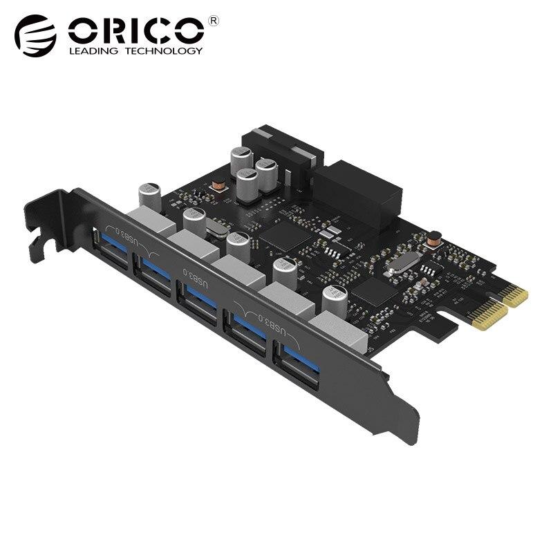 USB3.0 PCI-E Carte D'extension 5 Ports Hub Adaptateur Externe Contrôleur Express Carte Ajouter Sur Cartes avec 4-broches D'alimentation connecteur Cordon