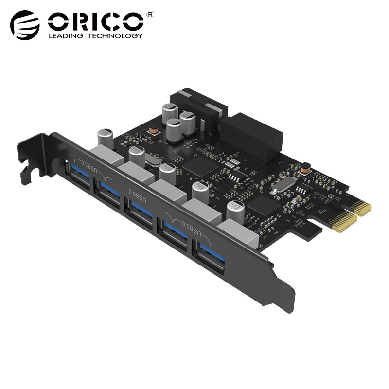 USB3.0 PCI-E Expansion Card 5 Ports Hub Adapter External Controller Express Card Add On Cards with 4-pin Power Connector Cord new usb 3 0 pci e expansion card adapter external 2 port usb3 0 hub internal 19pin header pci e card 4pin ide power connector
