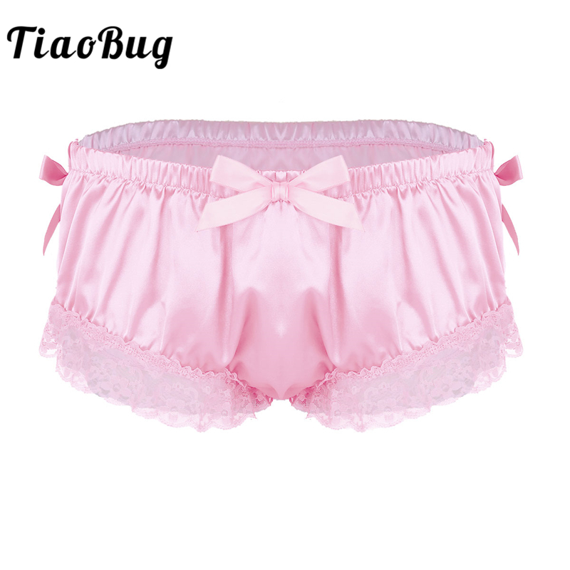 Detail Feedback Questions about TiaoBug Men Sissy Panties Shiny Soft Satin  Lingerie Ruffle Floral Lace Cute Bowknot Knickers Briefs Hot Sexy Male Gay  ...