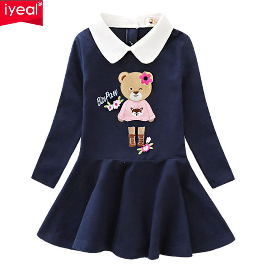 IYEAL Princess Girls Dress 2018 New Spring Bear Print Children Long Sleeve Baby Girl Cotton Casual Dresses for Kids 2-8 Years цена