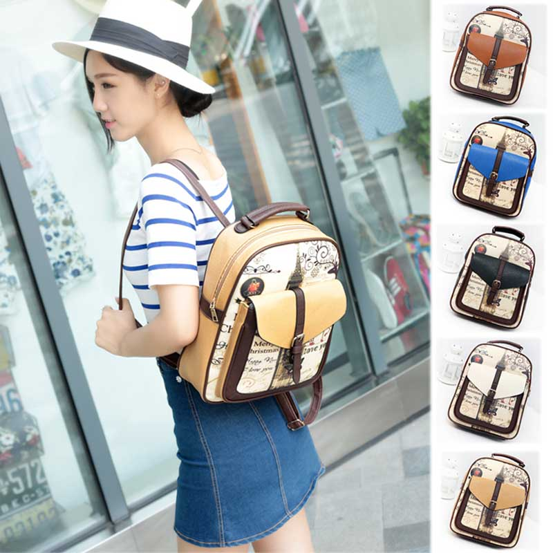 New Design Tower Canvas Women Backpack College Student School Bags For Girls Leisure Backpack 88 WML99