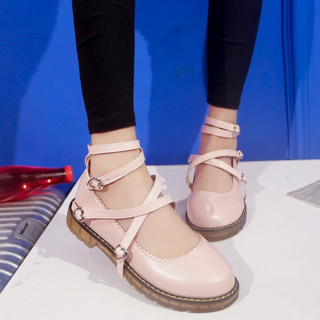 2017 Solid Color Women Shoes Cross Strap Lolita Japanese Flats Pink White Retro Carved Woman Flat Shoe Mary Jane Chaussure Femme
