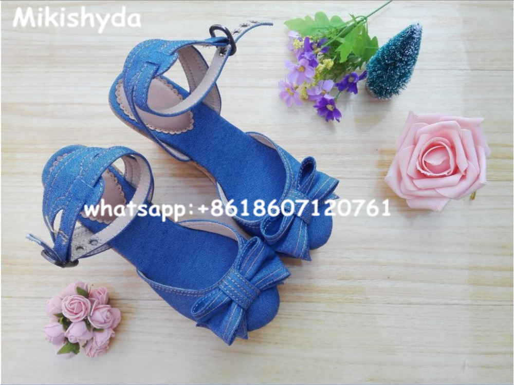 Sweety Knots Blue Denim Girls High Heel Sandal Wedges Thick Sole Plataforma Jean Valentine Shoes Sandalias Summer 2015 fashion women sandal thin high heel open heel glitter thick platform sandalias plataforma high heel sandal made to order