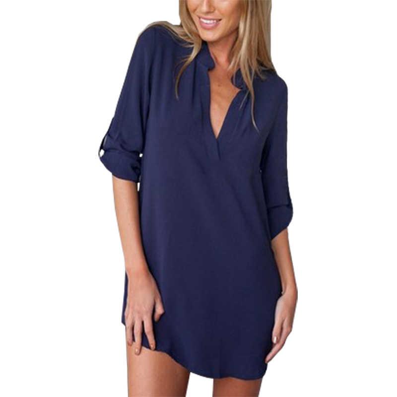 Europa ameryka bluzki nowy slash kołnierz luźne pół rękawa koszula z długim rękawem kobiety blusa dzika bluzka sweter koszula odzież vestidos LBD9160