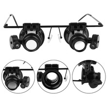 20X LED Magnifier Glasses Acrylic Loupe Lens Magnifying Eye Glasses with Light Jewelry