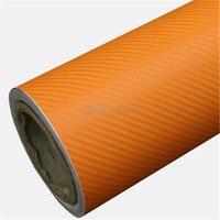 Оптовая Продажа Классический обновленный Оранжевый 3D углеродного волокна рулон виниловой плёнки с воздушным выпуском автомобиля обертыва