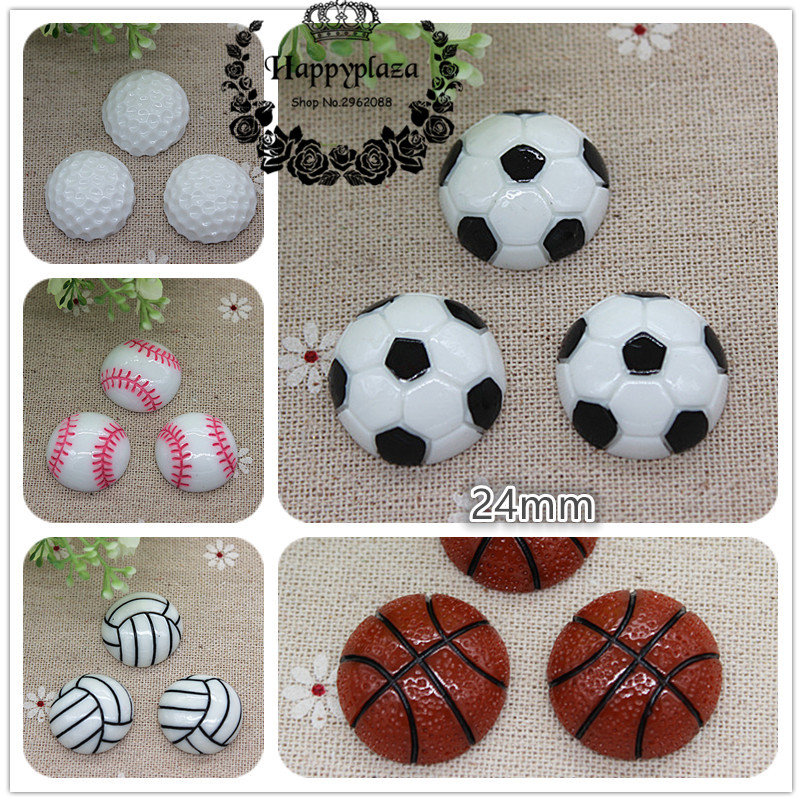 10pcs Resin Football Basketball Volleyball Tennis Sport Flatback Cabochon DIY Craft Decoration,24mm