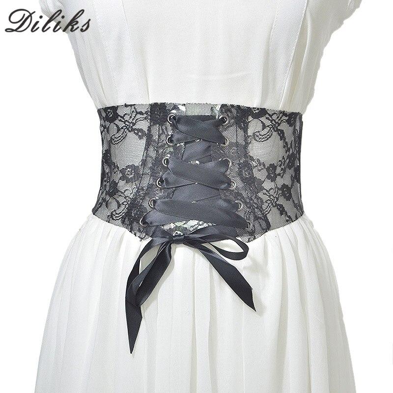 New Lace Designed Corset Belt For Women Bow Tieclasps Mesh Corset Belt Retro Black Cincher Waistband Ladies Waist Belts Cummerbu