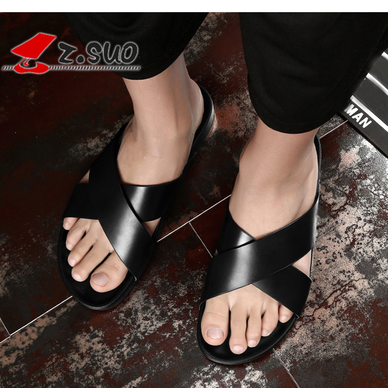 Z.Suo Slippers Men 2018 Soft Black Shoes Male Slides Cow Leather Flat Mens Fashion Flip Flops Summer Man Slippers Big Size 38-46 mens slippers rubber breathable shoes black flip flops mans black summer slippers 2018 new slippers male