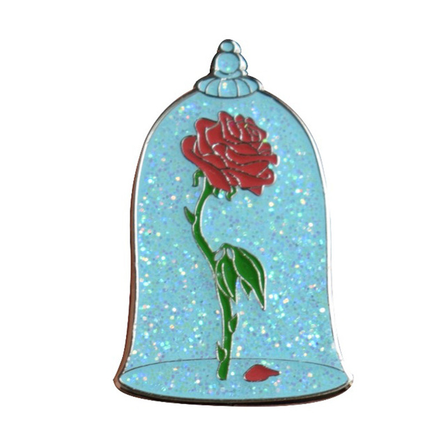 شارات الورد الزجاجي دبابيس لامعة خيبة الأمل الورود زهرة بروش سريالي الفن مجوهرات الجمال والوحش رائع المينا دبوس