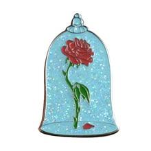 Insignias de rosas de cristal, pasadores con purpurina, broche de flor de rosas desencantada, joyas artísticas surrealistas, pin esmaltado maravilloso de La Bella y La Bestia