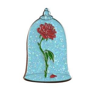 Image 1 - Insignias de rosas de cristal, pasadores con purpurina, broche de flor de rosas desencantada, joyas artísticas surrealistas, pin esmaltado maravilloso de La Bella y La Bestia
