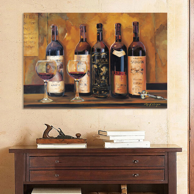 red wine bottle placed vintage canvas wall art home decoration painting the living room office picture cafe bar still life