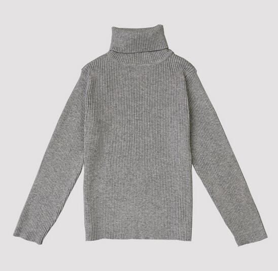 2017 Primavera/Otoño de Cuello Alto de Punto Niños/Niñas Niños Jerseys Jerseys Tops Bebé Ropa de Invierno Suéter Básico Para 1-5Y